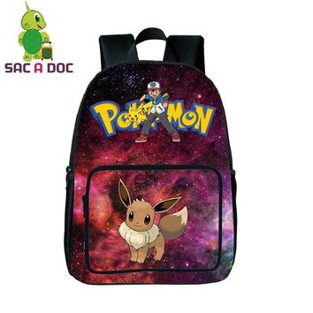 Teenage Girls Boys Galaxy  Eevee School Backpack Laptop Backpack Womens Mens Universe Space Printing Travel RucksacksKawaii Pokemon go  AT_89_9
