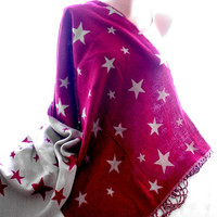 red blanket cape, poncho, blanket shawl, star print shawl, scarves for women, soft scarf, cozy scarf, trendy scarf