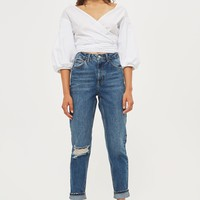 MOTO Dark Blue Ripped Mom Jeans