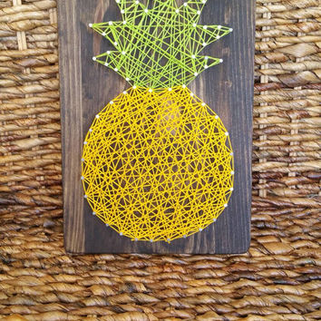 Pineapple String Art Home Decor Sign, Hawaiian Themed Home Decoration, Luau Theme Shelf or Wall Hanging, One of a Kind Made to Order