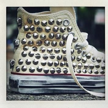 studded converse converse cream high top with silver cone rivet studs by customduo on