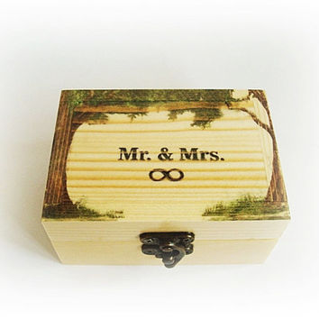 Infinity sign, Mr end Mrs box, Wedding event, Natural wood box, Rustic box rings, Ring box holder, Box wedding rings, Gift for newlyweds