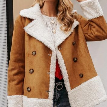 Warm And Toasty Brown Beige Faux Suede Faux Fur Button Double Breasted Coat Outerwear