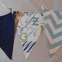Blue and Green Letter Themed Bunting For Childs Room or Home Decor