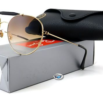New Ray-Ban Round Aviator Sunglasses   RB3540 001/51 Gold / Brown Gradient Lens