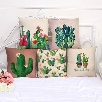 45*45 Cm Hand Painted Color Plant Series Cotton Linen Decorative Pillow Sofa Office Chair Cactus Cushion