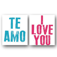 Wall Art- Prints for Wall- Wall Decor- Prints for Nursery Decor- Te Amo- I Love You- Set of 2 Prints
