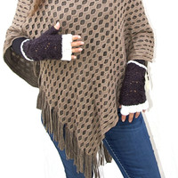 Tone on Tone Poncho with Fringe in Tan