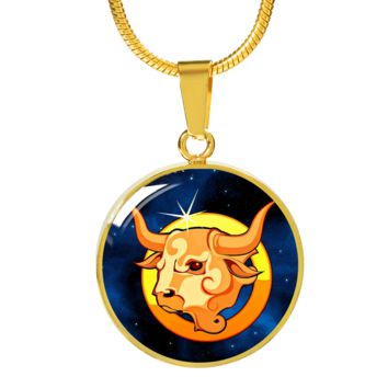 Zodiac Sign Taurus - 18k Gold Finished Luxury Necklace