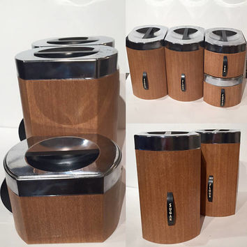 Vintage Kromex Kitchen Canister Set | Set of 4 Faux Wood Canisters