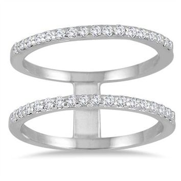 3/8 Carat Diamond Double Row Ring in 10K White Gold