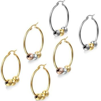 Flongo Womens Charm Stainless Steel Ball Bead Hoop Loop Earrings