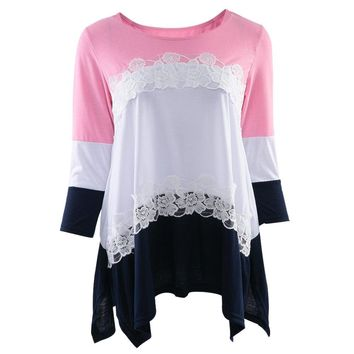 Stylish Round Neck 3/4 Sleeve Lace Stitching Design Women's T-shirt