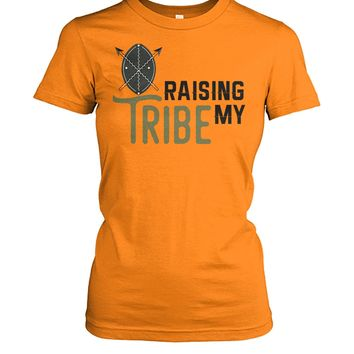 Womens Raising My Tribe Funny Mom Tshirt, Mom Shirts, Women Tops