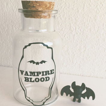 Vampire Blood Cork Bottle - Halloween decor - Candle Holder - Makeup Holder - Decor - Candy Jar - Statement piece - Vintage decor - Vampire