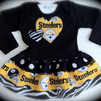 Steelers Long Sleeve Dress Available 03 months by BabyThreadsByLiz