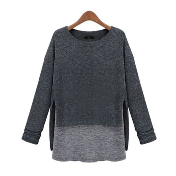Knitted Long Sleeve Sweater T-Shirt