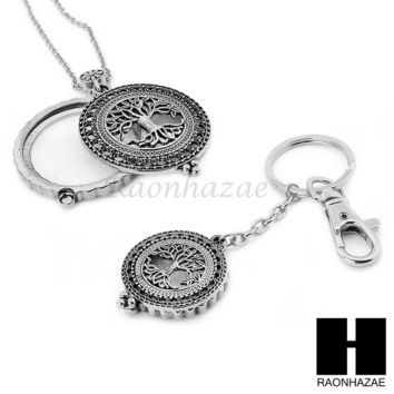 Silver 5X Magnifying Glass Tree of Life Key Chain Pendant Chain Necklace Set S4S