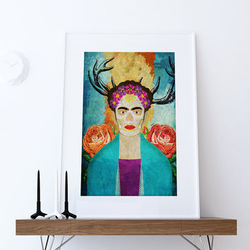 Frida Kahlo Mexican Retro Portrait Illustration Art Print Vintage Giclee on Cotton Canvas and Paper Canvas Poster Wall Decor