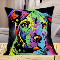 American Pit Bull Terrier Art Print  on Square Pillow Cover