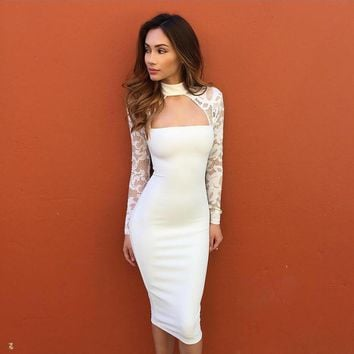Lace Long Sleeve High collar Halter Slim Fit Package Hip Bodycon Dress
