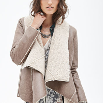 FOREVER 21 Draped Faux Shearling Jacket Taupe/Cream