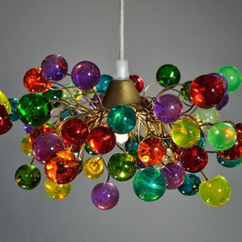 colorful  bubbles, hanging chandelier