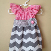 Baby Girl Pink Polkadot and Gray Chevron Ruffle Sleeve Dress with Matching Sash- 0 to 3 months - 6M - 12M - 18M - 2T - 3T - 4T