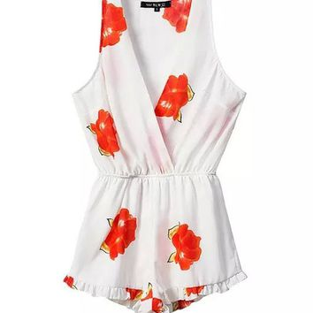 Casual Surplice Ruffled Hem Floral Printed Sleeveless Romper