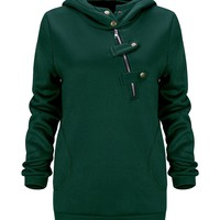 Casual Fancy Hooded Decorative Buttons Plain Hoodie