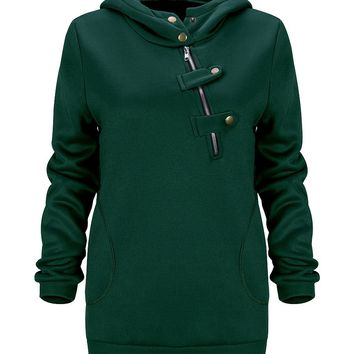 Streetstyle  Casual Fancy Hooded Decorative Buttons Plain Hoodie