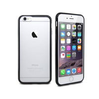 iPhone 6 Black Minimalist Hard Shell Protective Case with Clear Frosted Back