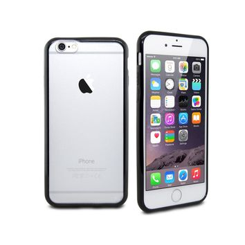iPhone 6 Plus Black Minimalist Hard Shell Protective Case with Clear Frosted Back