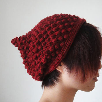 Pixie Hat in Maroon Red, Raspberry Elf Hat, Women Slouchy Pixie Beanie, Bubble Pointy Hat, Slouchy Beanie, Winter Accessories - lapuzelo