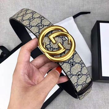 GUCCI Fashion Woman Men Double G Smooth Buckle Belt Leather Belt With Box