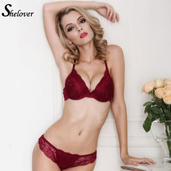 Shelover Sexy Floral Lace Royal 3/4 Cup Women Sexy Underwear 2015 Fashion Trade Adjustable Push Up Bra Set Deep V Lingerie Set