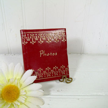 Vintage Red Leatherette Photo Album Spiral Bound Miniature Binder - Retro Cherry Red with Gold Tooled Trim Mid Century Photo Book Never Used