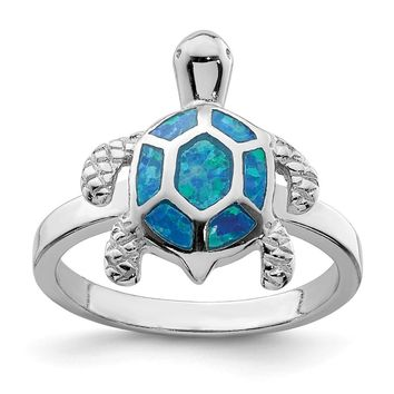 925 Sterling Silver Rhodium Created Blue Opal Turtle Ring