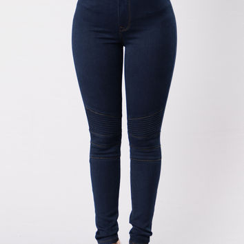Do You Wanna Ride? Moto Jeans - Dark Blue