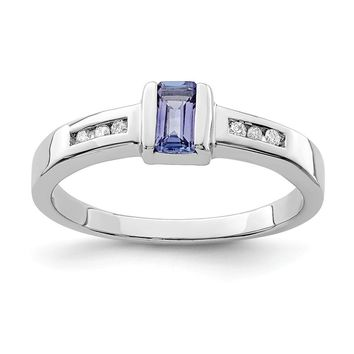 925 Sterling Silver Rhodium-Plated Tanzanite and Diamond Ring