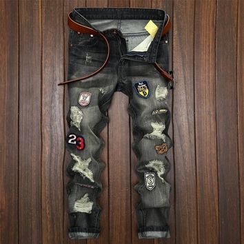 Men's Fashion Weathered Slim Ripped Holes Jeans [1922679799901]
