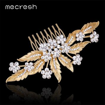Mecresh Trendy Gold-Color Rhinestone Wedding Hair Accessories For Women Hot Sale Leaf Crystal Bridal Hair Combs Jewelry MFS140