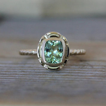 14k Gold and Green Tourmaline Gemstone Ring, Recycled Gold Ring With Cushion Cut Mint Green Tourmaline, Ready To Ship