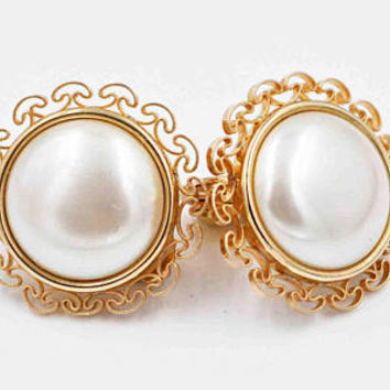 Vintage Krementz Filigree Faux Pearl Clip Earrings, 14K Rolled Gold, Yellow Gold, Mushroom Filigree, Round, Large, Lovely! #c318