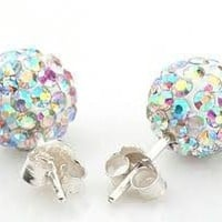 Shamballa Rainbow Stud Earrings