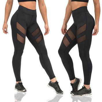 Sexy  Women  Breathable Yoga Leggings  Mesh Splicing Yoga Pants High Waist Run Tights Workout Fitness Jogging Leggings