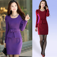 2016 Fashion Women Dress winter bodycon elegant long-sleeve work bow plus size woman dress red,purple,navy blue M,L,XL,XXL,XXXL