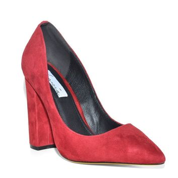 Red Suede Eleanor Point Chunky Heel Pumps