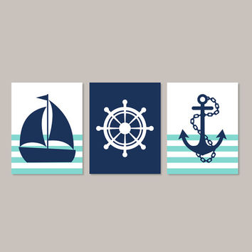 Nautical Nursery Art Nautical Baby Shower Nautical Wall Decor Navy Nursery Sailboat Helm Anchor Boy Bedroom Decor Set of 3 Prints Or Canvas