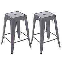 Costway Set of 2 Metal Steel Bar Stools Vintage Antique Style Counter Bar Stool (Gray)